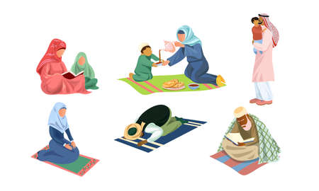 Set of isolated hand drawn arabic muslim families and people praying and doing everyday things over white background vector illustration. Wordlwide cultures lifestyle illustrations concept