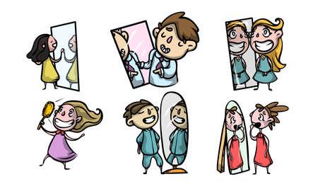 Zestaw na białym tle ręcznie rysowane pozytywne dzieci chłopców i dziewcząt, patrząc w lustra na ich odbicia na białym tle ilustracji wektorowych. Koncepcja piękna i szczęśliwego stylu życia