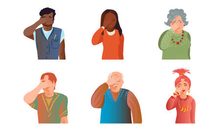 Set of isolated hand drawn young and old men and women expressing headache, grief, despair, frustration over white background vector illustration. Emotions diversity concept