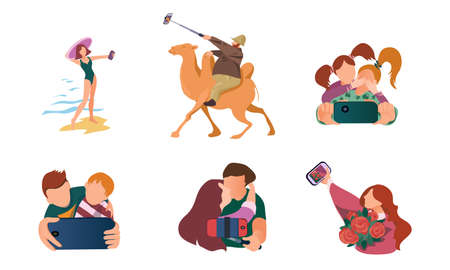 Set of isolated hand drawn women and men making selfie on smartphones in different situations over white background vector illustration. Modern technologies and lifestyle concept Stock Illustratie