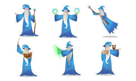 Collection set of old wizard making magic in mantle and hat with the wand, pot, and book on white background. Male witchcraft, medieval sorcerer merlin practicing. Colorful vector isolated icons set