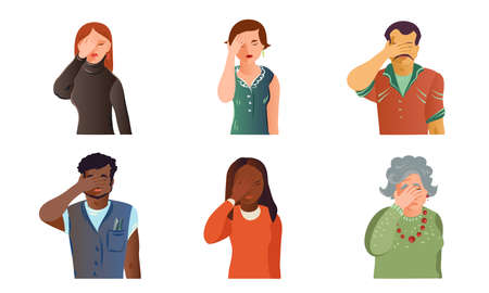 Set of isolated hand drawn young and old men and women expressing grief, despair, frustration over white background vector illustration. Emotions diversity concept
