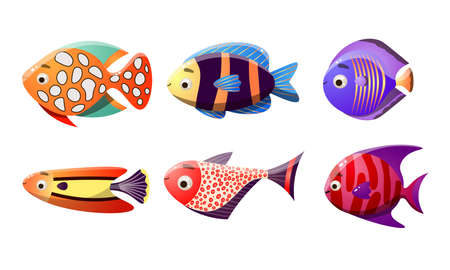 Collection set of sea tropical fishes. Multicolor set of six different types of coral reef fishes. Colorful vector flat isolated icons set. The clip art style on white background. 일러스트