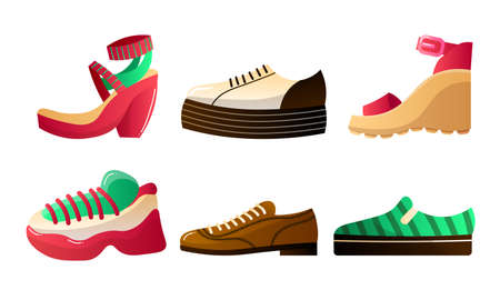 Collection set of footwear set for different seasons. Stylish and fashionable shoes of various types for male and female. Isolated icons set illustration on a white background in cartoon style.
