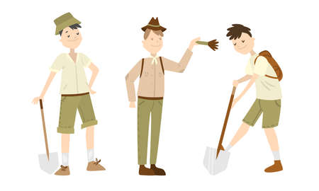 Collection set of three archaeologists men in different poses with different attributes in the hands. Scientists working on the excavation. Isolated set illustration on a white background.