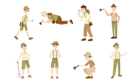 Collection set of archaeologists men and women of different ages in different poses with different attributes in the hands. Scientists working on excavations. Colorful vector flat isolated icons set.