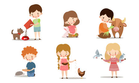 Collection set of cute little boys and girls feeding animals. Adorable kids caring for wild and domestic animals concept. Isolated icons set illustration on a white background in cartoon style. Иллюстрация