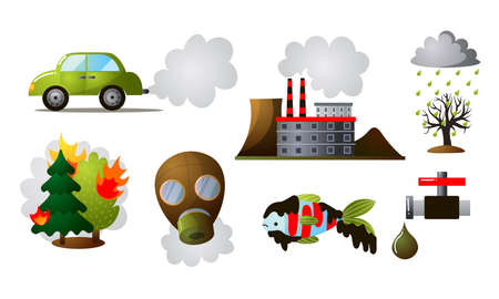 Colorful set of different industrial pollution.