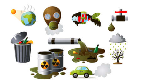 Collection set of difefrent industrial pollutions. Polluted environment, factory air pollution, environmental consequences of human activities. Colorful vector flat isolated icons set