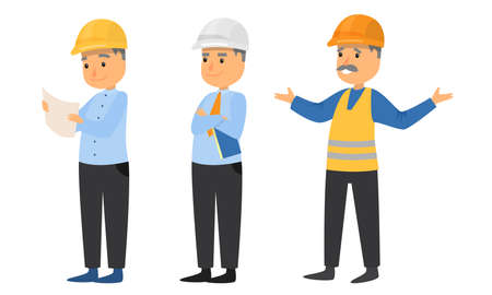 Set of isolated hand drawn adult men builders in special work clothing and helmets during job over white background vector illustration. People builders concept