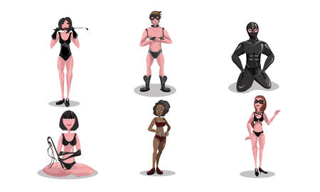 People in leather costumes practicing bdsm sex vector illustration