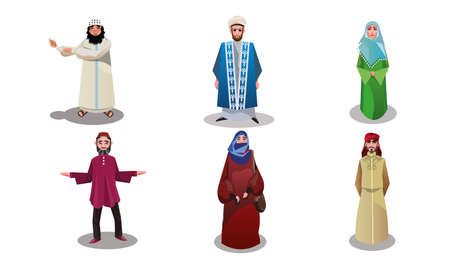 Muslim arabic women and men in traditional clothing vector illustration 일러스트