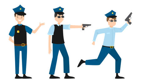 Set of isolated hand drawn men policemen in traditional uniform with gun over white background vector illustration. Professional policeman at work concept
