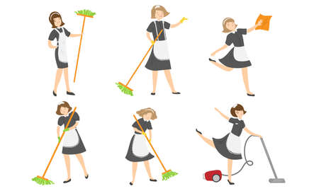 Set of isolated hand drawn young women maids in special uniform making housekeeping work at home with equipment over white background vector illustration. Cleaning service concept