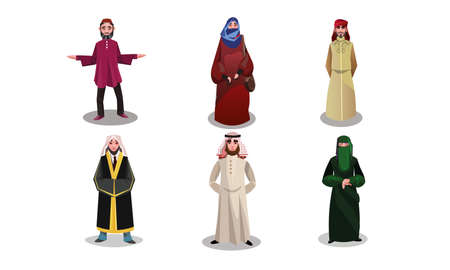 Muslim arabic people in long traditional clothing vector illustration 일러스트