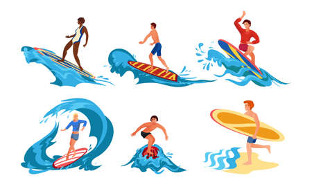 Set of isolated hand drawn girls and boys doing water surfing in summer over white background vector illustration. Favourite hobby and active lifestyle concept Ilustração