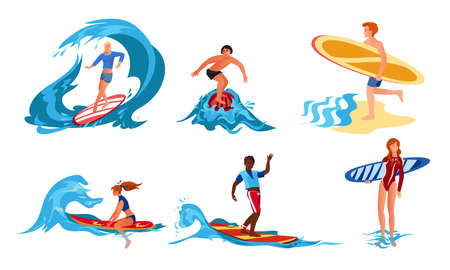 Set of isolated hand drawn girls and boys doing water surfing in summer sea over white background vector illustration. Favourite hobby and active lifestyle concept 일러스트