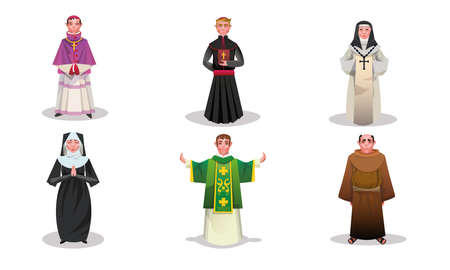 Ensemble de prêtres, de moines et de nonnes catholiques isolés dessinés à la main dans des vêtements religieux spéciaux sur illustration vectorielle fond blanc. Concept d'apparence religieuse du catholicisme Vecteurs