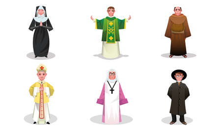 Set of catholic priests, monks and nuns people vector illustration