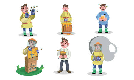 Set of isolated hand drawn adult men beekeepers in special protective work clothing during job over white background vector illustration. People beekeepers concept