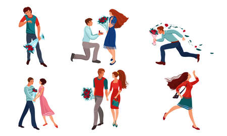 Set of isolated hand drawn toung women and men lovers and couples meeting and dating in different situations over white background vector illustration. Love and relationship social concept