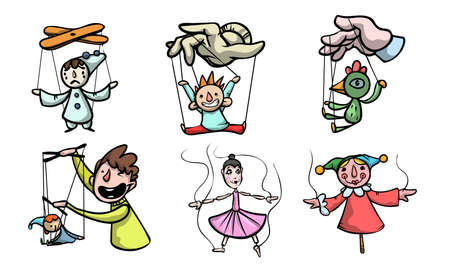 Set of puppets, marionettes and puppet masters vector illustration Vettoriali