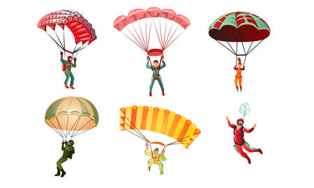 Collection set of different colorful skydivers: parachutist, paraglider. Skydiving concept. Isolated icons set illustration on a white background in cartoon style.