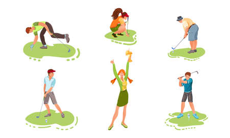 Collection set of different people playing golf on the grass. Young golf players concept. Isolated icons set illustration on a white background in cartoon style.