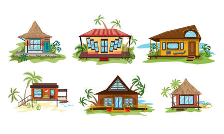 Collection set of different styles villa on the ocean beach in paradise. The facade of tropical resort bungalows. Isolated icons set illustration on a white background in cartoon style.