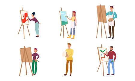 Collection set of various artists painting on canvas with an easel. Talented painters at the working process concept. Isolated icons set illustration on a white background in cartoon style. Иллюстрация