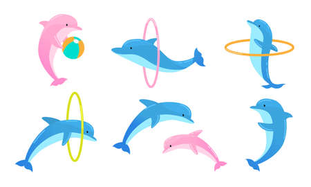 Collection set of cute blue dolphins performing tricks with ring and ball for an entertainment show in a dolphinarium. Isolated icons set illustration on a white background in cartoon style.