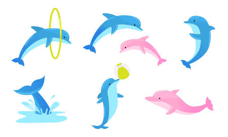 Collection set of cute blue dolphins performing tricks with ring and ball for an entertainment show in a dolphinarium. Isolated icons set illustration on a white background in cartoon style. Illustration