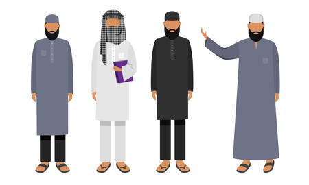 Collection set of Arabic men wearing traditional clothing. Ethnic clothes concept. Isolated icons set illustration on a white background in cartoon style. Vettoriali