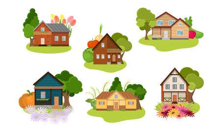 Ensemble de collection de différentes maisons de campagne avec jardins verdoyants. La façade du concept de bungalows. Icônes isolées définies illustration sur fond blanc en style cartoon.