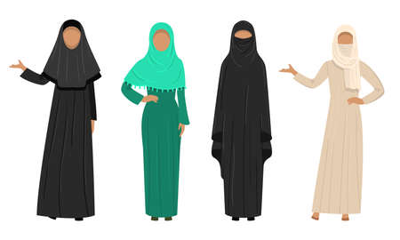 Collection set of different Muslim Arab women characters in traditional clothing. Ethnic clothes concept. Isolated icons set illustration on a white background in cartoon style. 免版税图像 - 140024730
