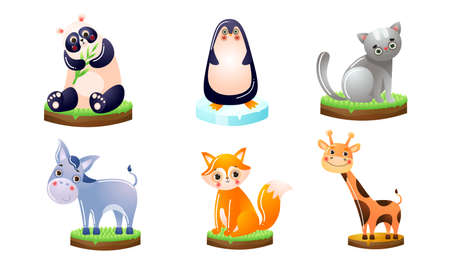 Collection set of different colorful cute animals smiling giraffe, grey cat, funny red fox, the grey donkey with blue hair. Isolated icons set illustration on a white background in cartoon style. Ilustração