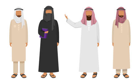 Collection set of Arabic men wearing traditional clothing. Ethnic clothes concept. Isolated icons set illustration on a white background in cartoon style.