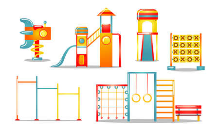 Collection set of cartoon kids playground sports complex equipment with jungle gym, ladder, swing, slides, climbing wall. seesaw, horizontal bar. Colorful vector flat icons set