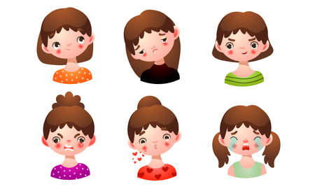 Collection set of the girl with different facial expressions: sad, disappointed, crying, angry, blowing kiss, happy, thoughtful. Isolated icons set illustration on a white background in cartoon style. Çizim