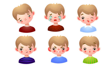 Collection set of the boy with different facial expressions: sad, disappointed, crying, playful, angry, surprised. Isolated icons set illustration on a white background in cartoon style.