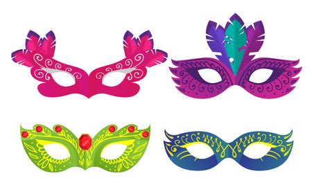 Set of masks for carnivals or masquerades costumes illustration Ilustração