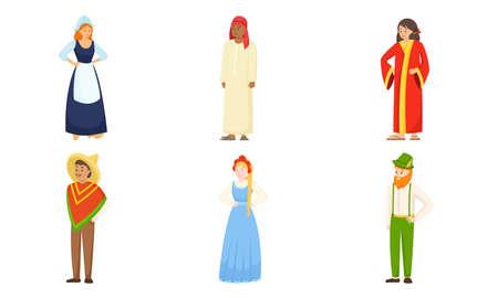 Men and women wearing various national costumes vector illustration Vektoros illusztráció