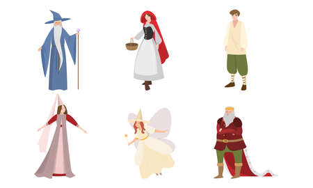 Fairies, wizard, king characters in special traditional costumes vector illustration