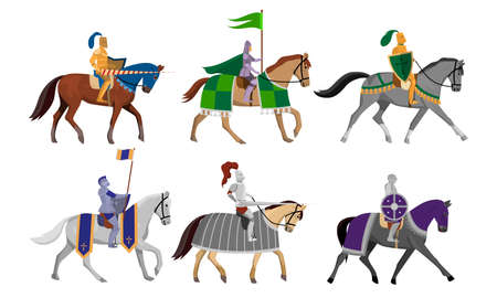 Knights with flags, shields and swords on horseback vector illustration