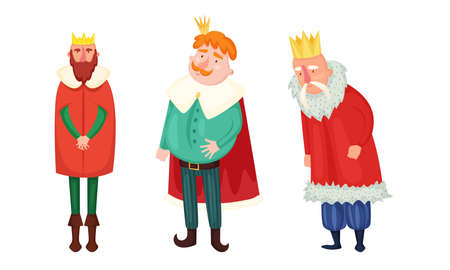 Kings in special costumes and golden crowns vector illustration Ilustração