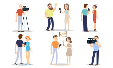 Men and women correspondents during work vector illustration 向量圖像