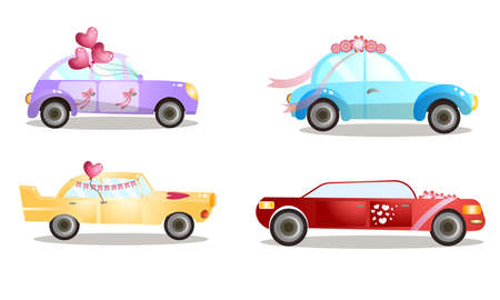 Decorated wedding procession cars with balloons and flowers vector illustration