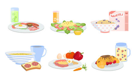 Different types of healthy breakfast sets vector illustration Ilustração