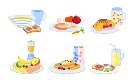 Different types of served healthy breakfast sets vector illustration