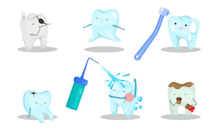 Happy and stressed teeth in different situations vector illustration